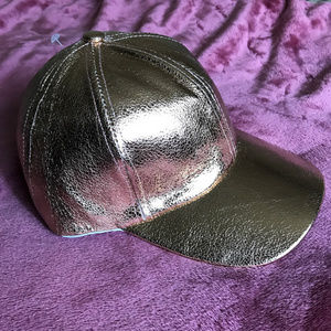 Accessories - Metallic Crackled Faux Leather Hat *HOST PICK*